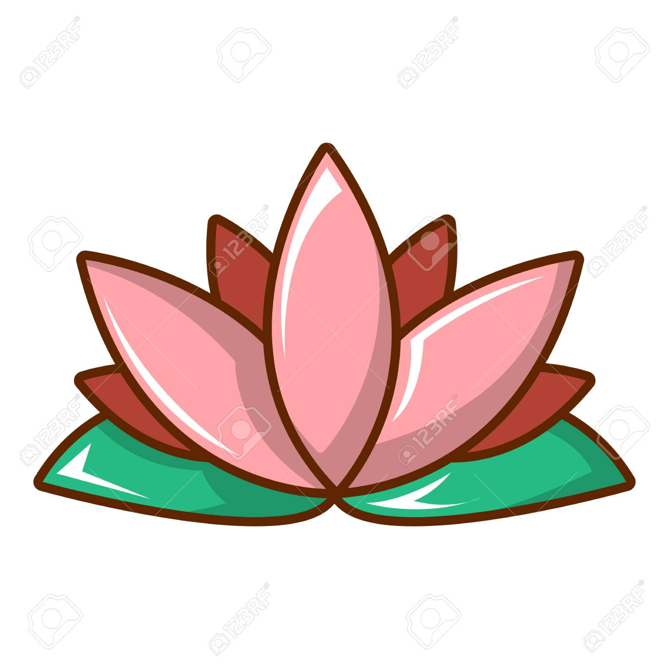 Lotus Flower Icon Cartoon Style Royalty Free Cliparts Vectors And