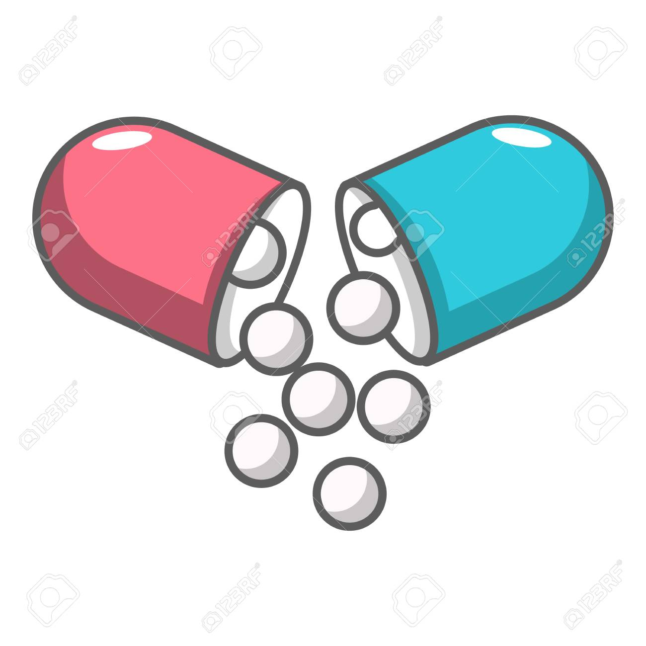 open capsule pill icon cartoon illustration of open capsule rh 123rf com pill vector shape pill vector image
