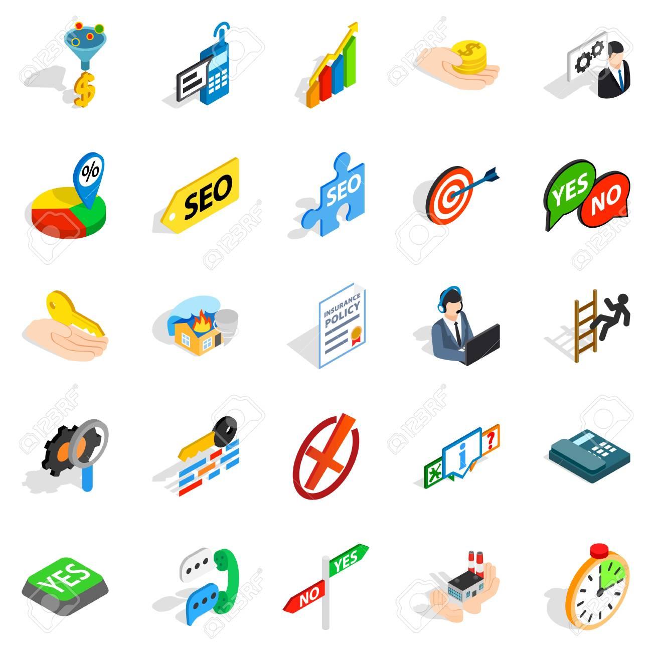 Headquarters icons set. Isometric set of 25 headquarters vector icons for web isolated on white background - 83340901