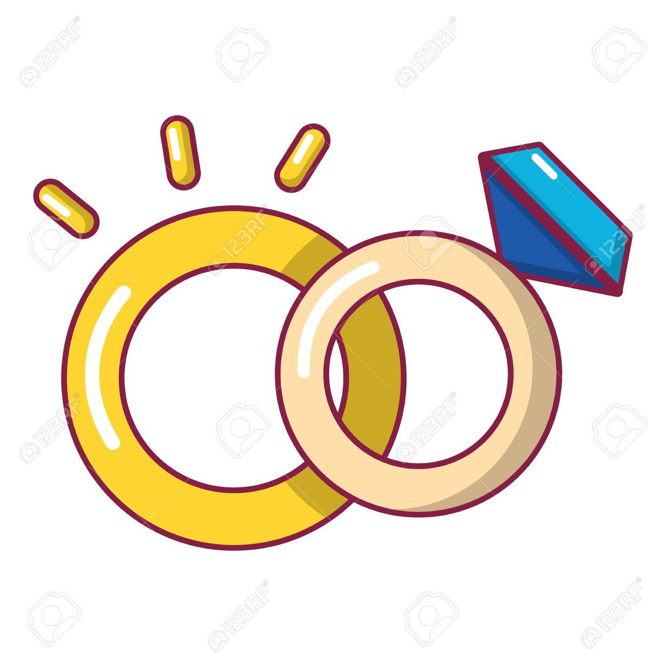 Wedding Rings Icon Cartoon Style Royalty Free Cliparts Vectors