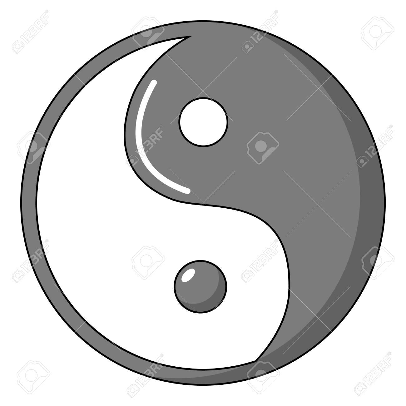 Icono De Taoísmo De Yin Yang Símbolo Estilo De Dibujos Animados