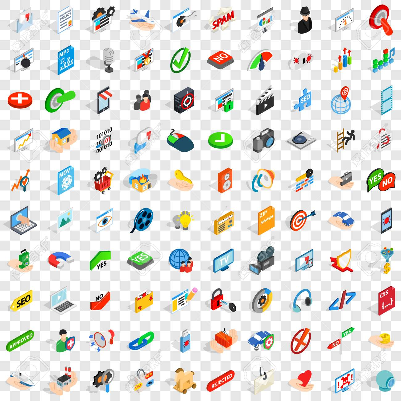100 cyber icons set in isometric 3d style for any design vector illustration - 83398549