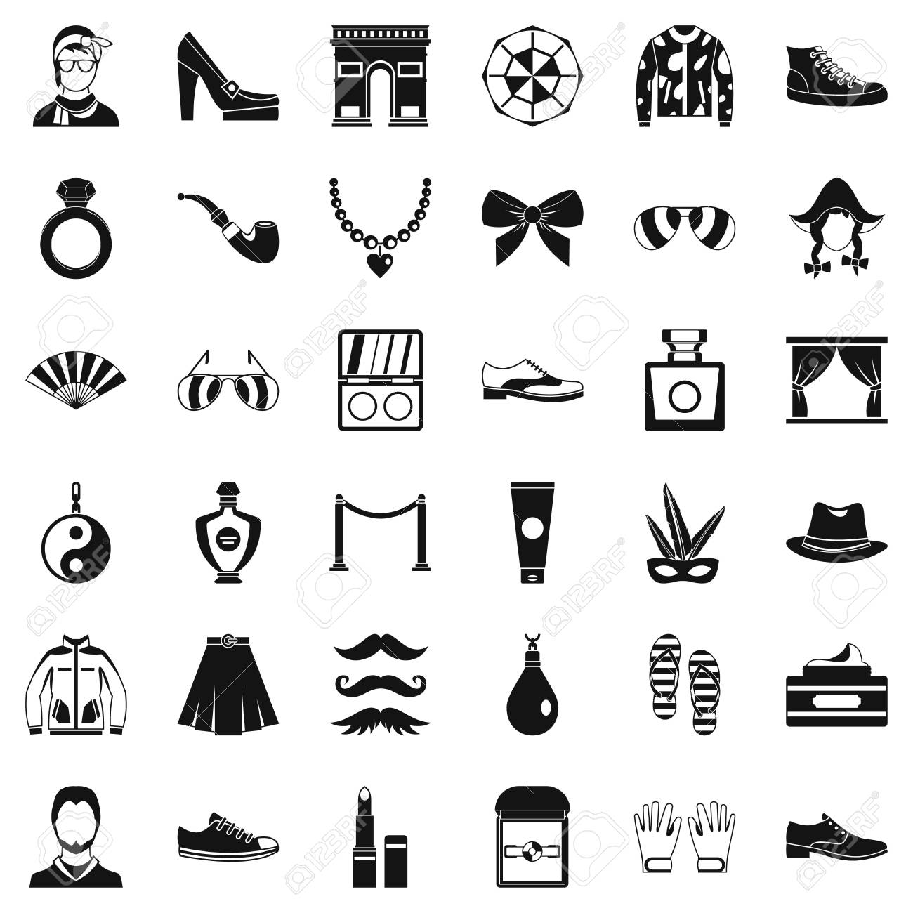 Fashion icons set. Simple style of 36 fashion vector icons for..
