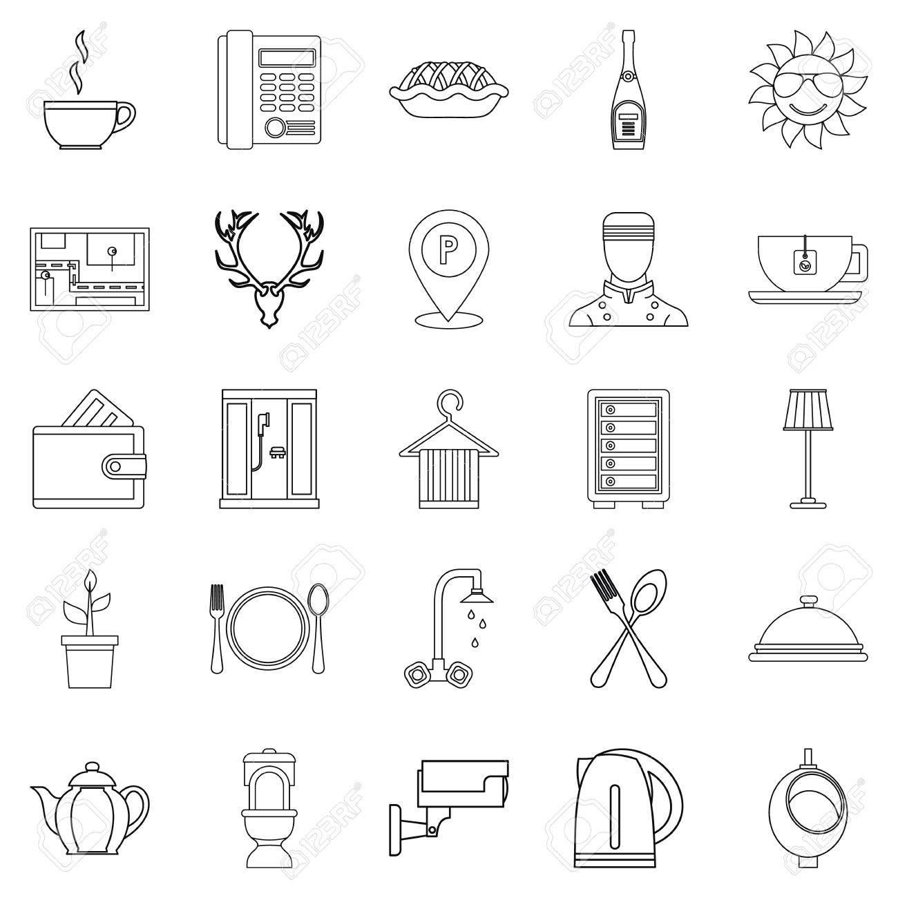 Möblierte Zimmer Icons Set. Outline Satz Von 25 Eingerichtete Zimmer ...