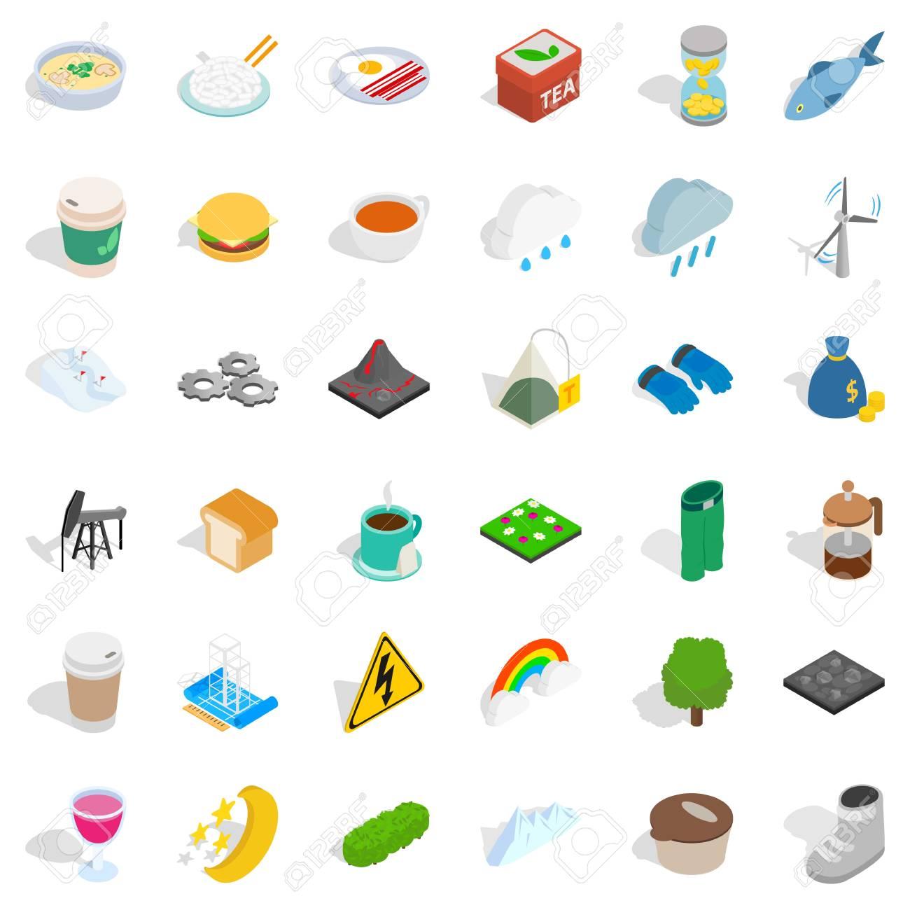 冬食べ物アイコン セットアイソメ図スタイルのイラスト素材ベクタ