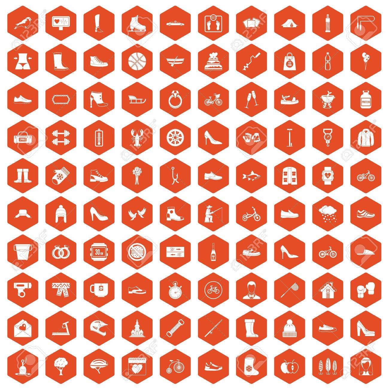 7e55ae6f 100 shoe icons set in orange hexagon isolated vector illustration Stock  Vector - 83875320