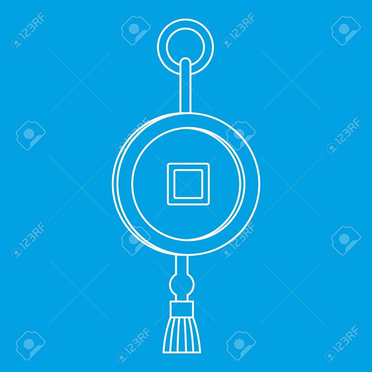Feng Shui Chinesische Münze Mit Loch Symbol Blau Umriss Stil