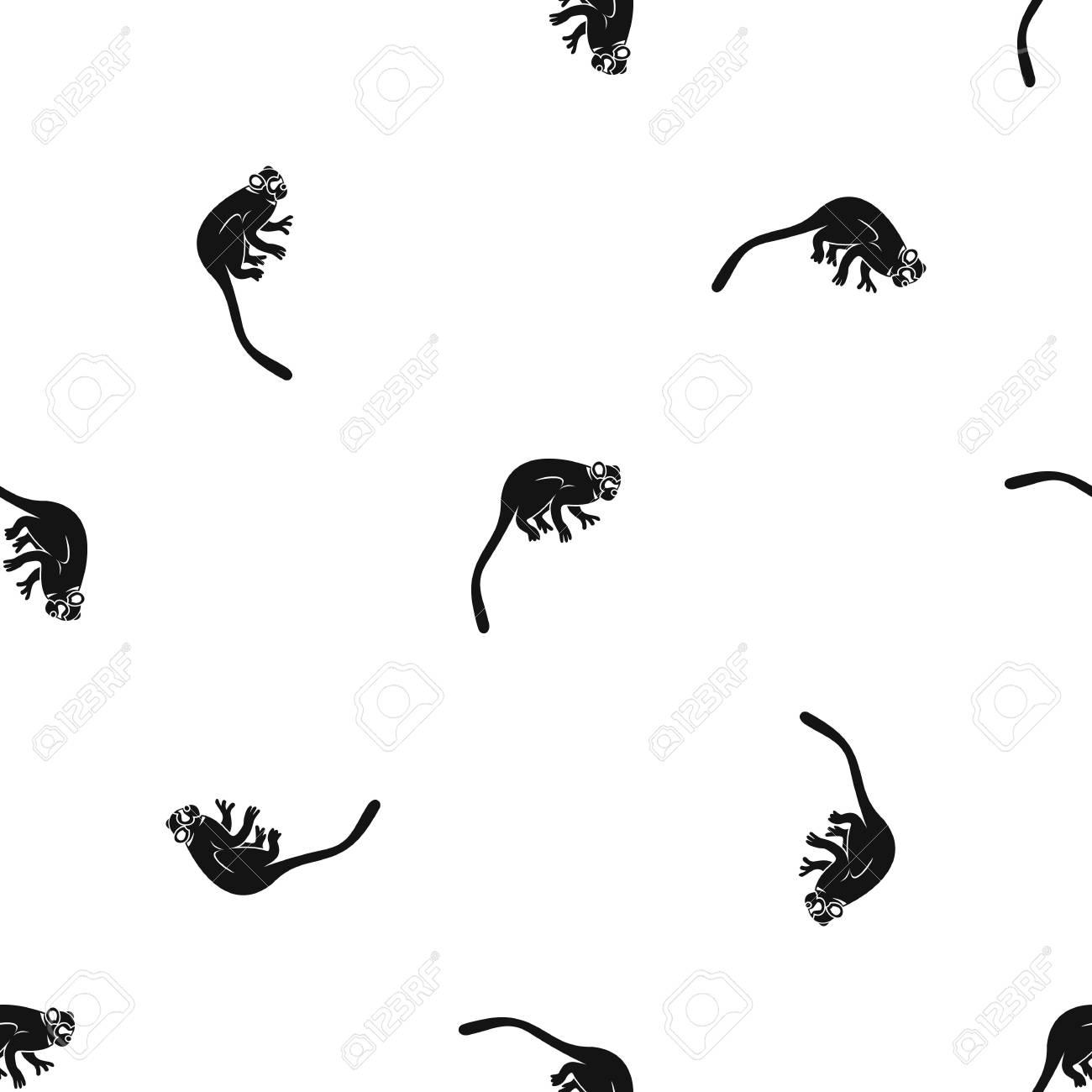 Marmoset Mono Patrón Sin Costuras Negro Ilustraciones Vectoriales ...