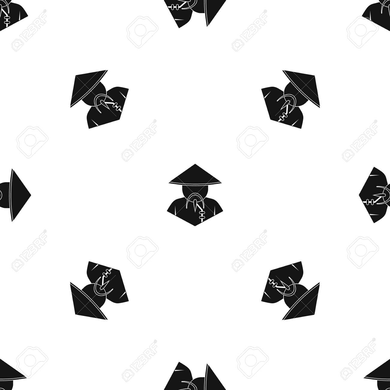 Asian man in conical hat pattern seamless black Stock Vector - 83949537 eae8935c3b6
