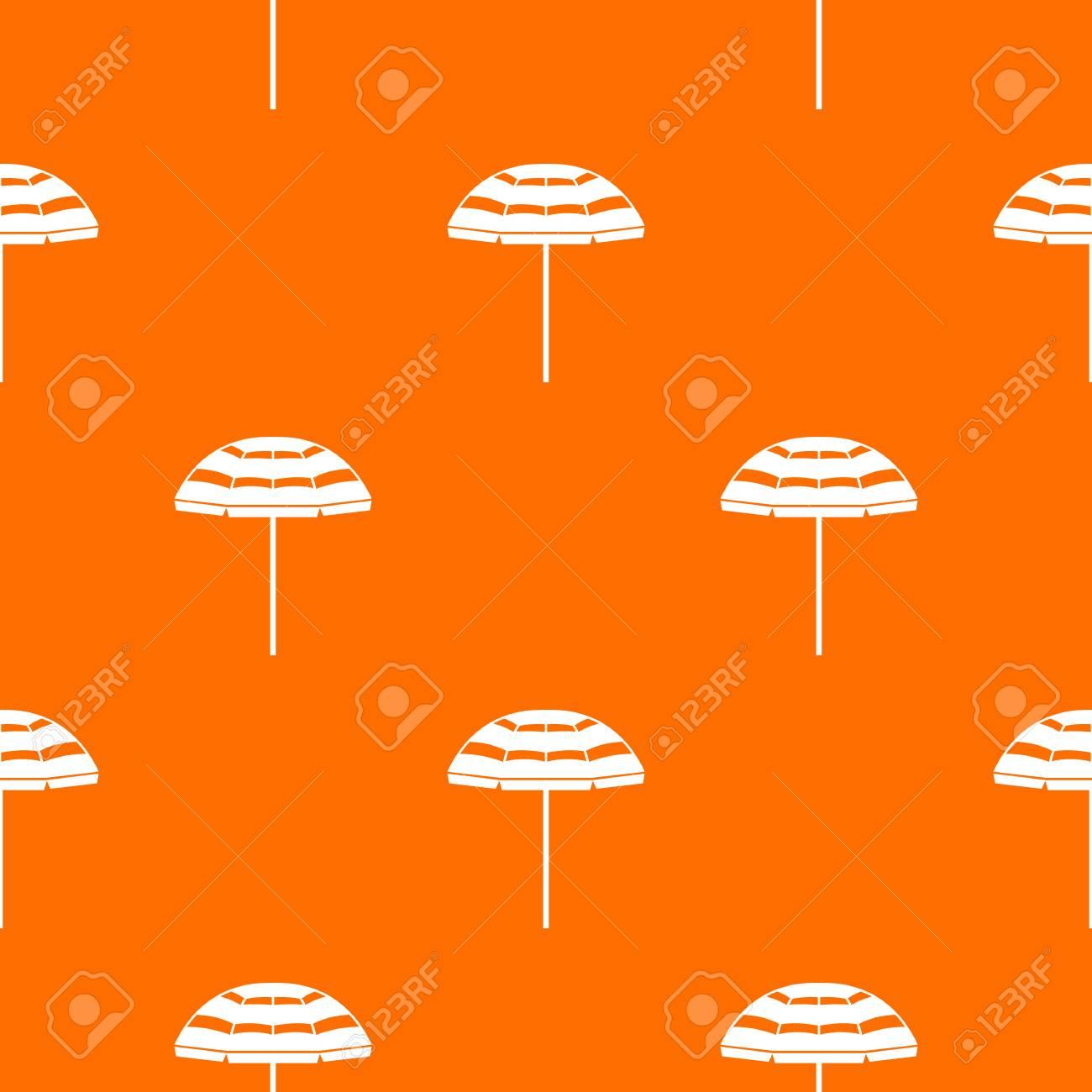 Beach umbrella pattern repeat seamless in orange color for any design. Vector geometric illustration - 83981687