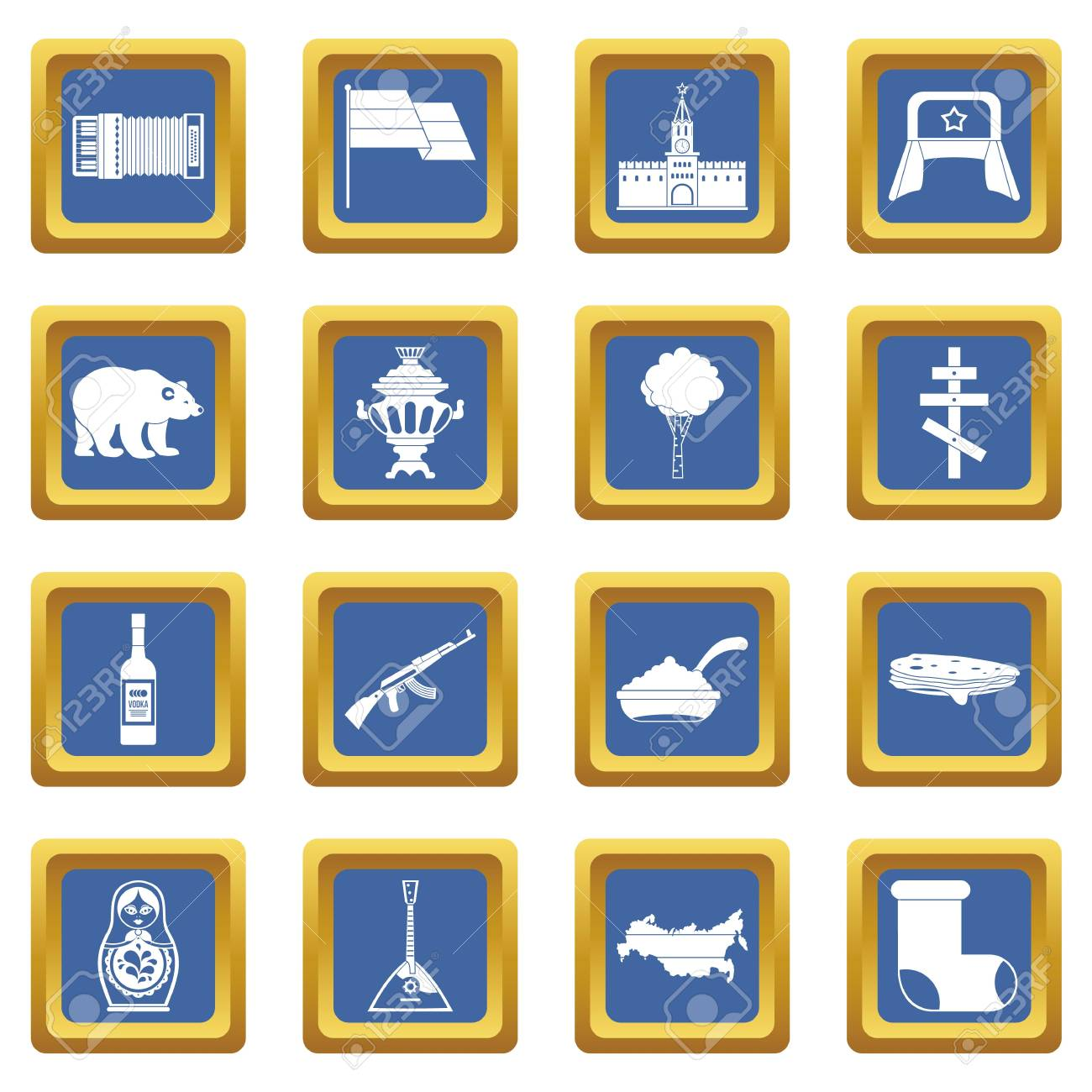 russia icons set in blue color isolated vector illustration for