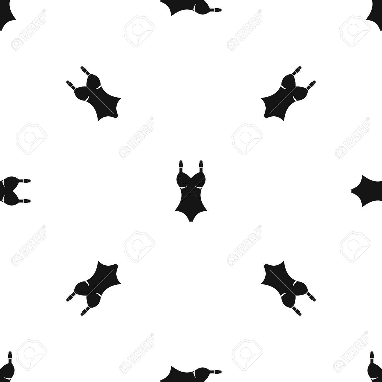 Repetición Del Patrón De Traje De Baño Sin Costuras En Color Negro ...