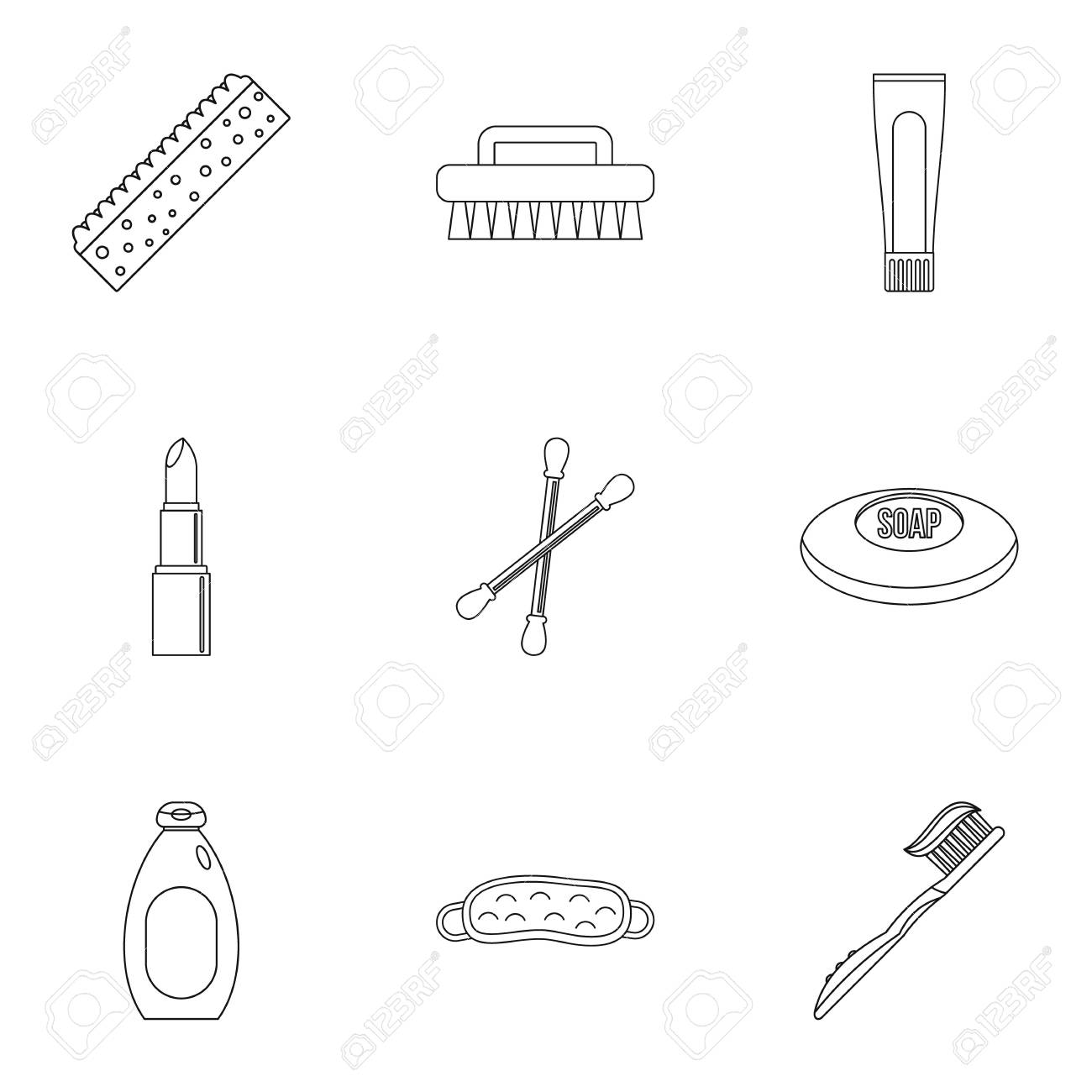 Bathroom Things Icons Set. Outline Set Of 9 Bathroom Things Vector Icons  For Web Isolated