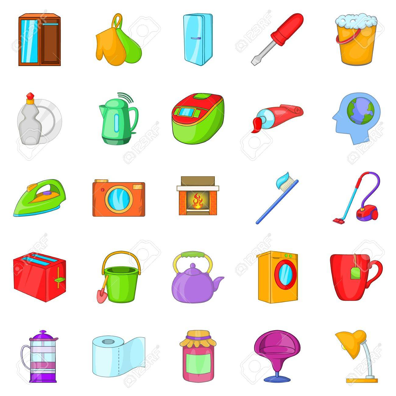 Kitchen Cleaning Icons Set Cartoon Set Of 25 Kitchen Cleaning