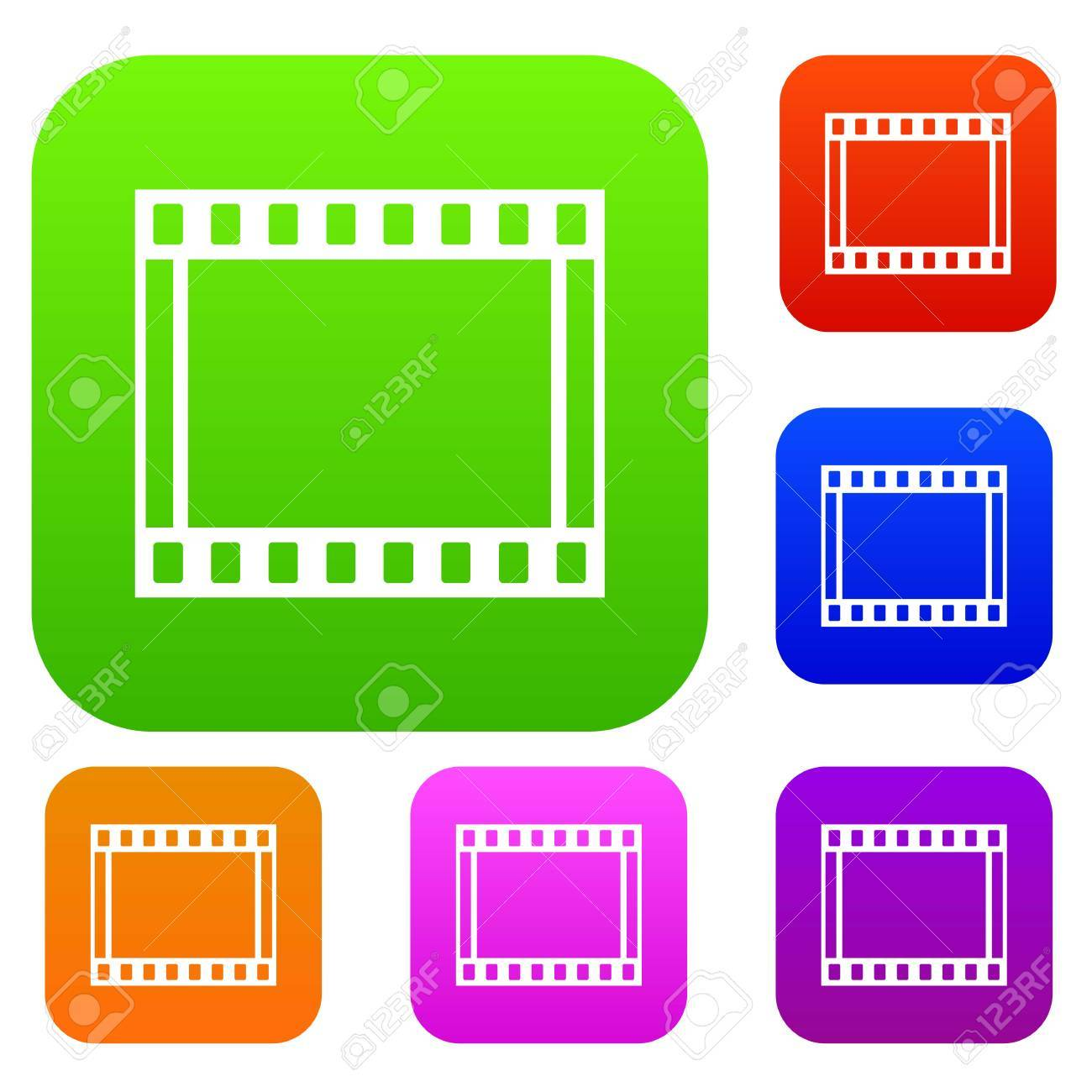 film with frames movie set icon in different colors isolated