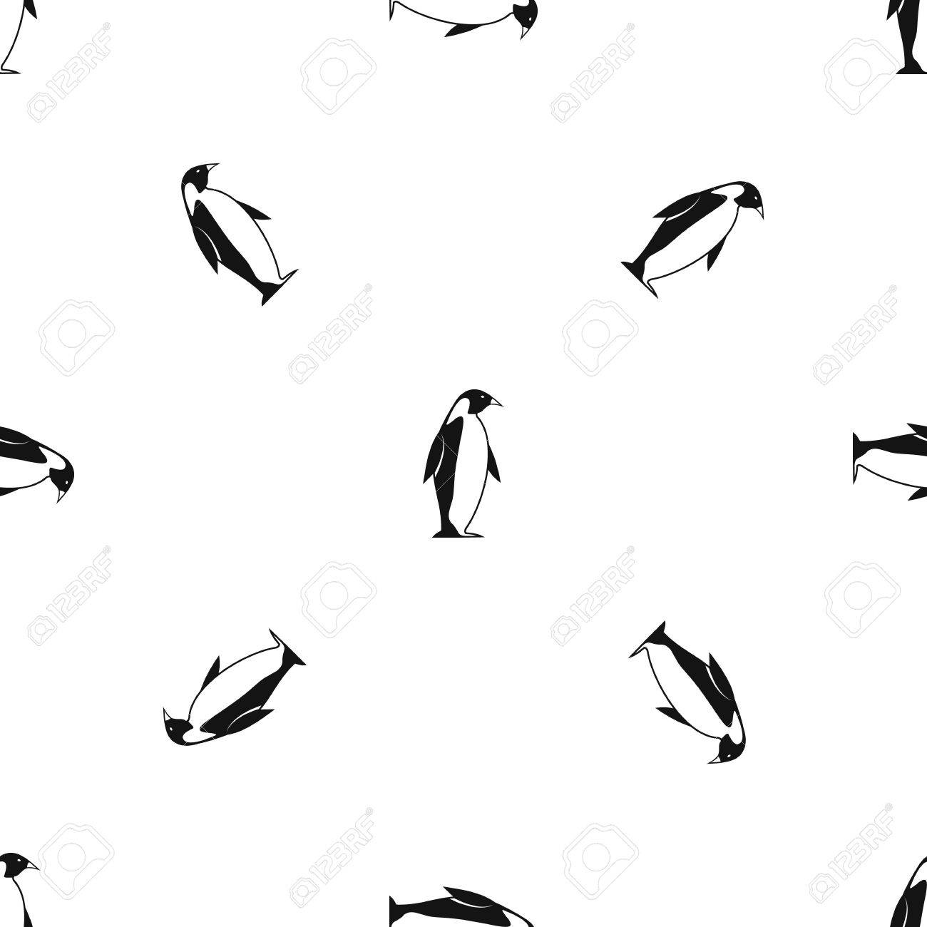 King penguin pattern repeat seamless in black color for any design. Vector geometric illustration - 84072970