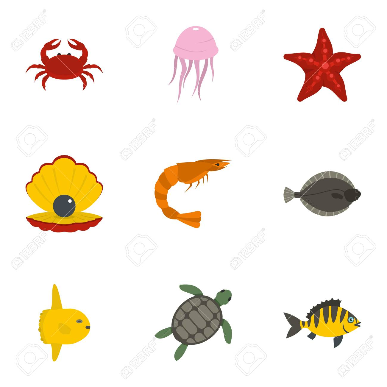 Banque dimages underwater animal stickers icons set flat style