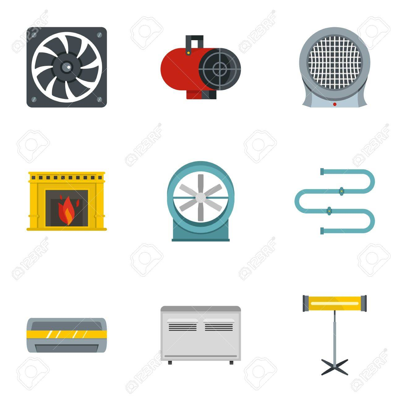 Heating Convector Icon Set Flat Style Of 9 Electric Heater Electrical Symbol Isolated On A White Background Stock Vector Icons For Web