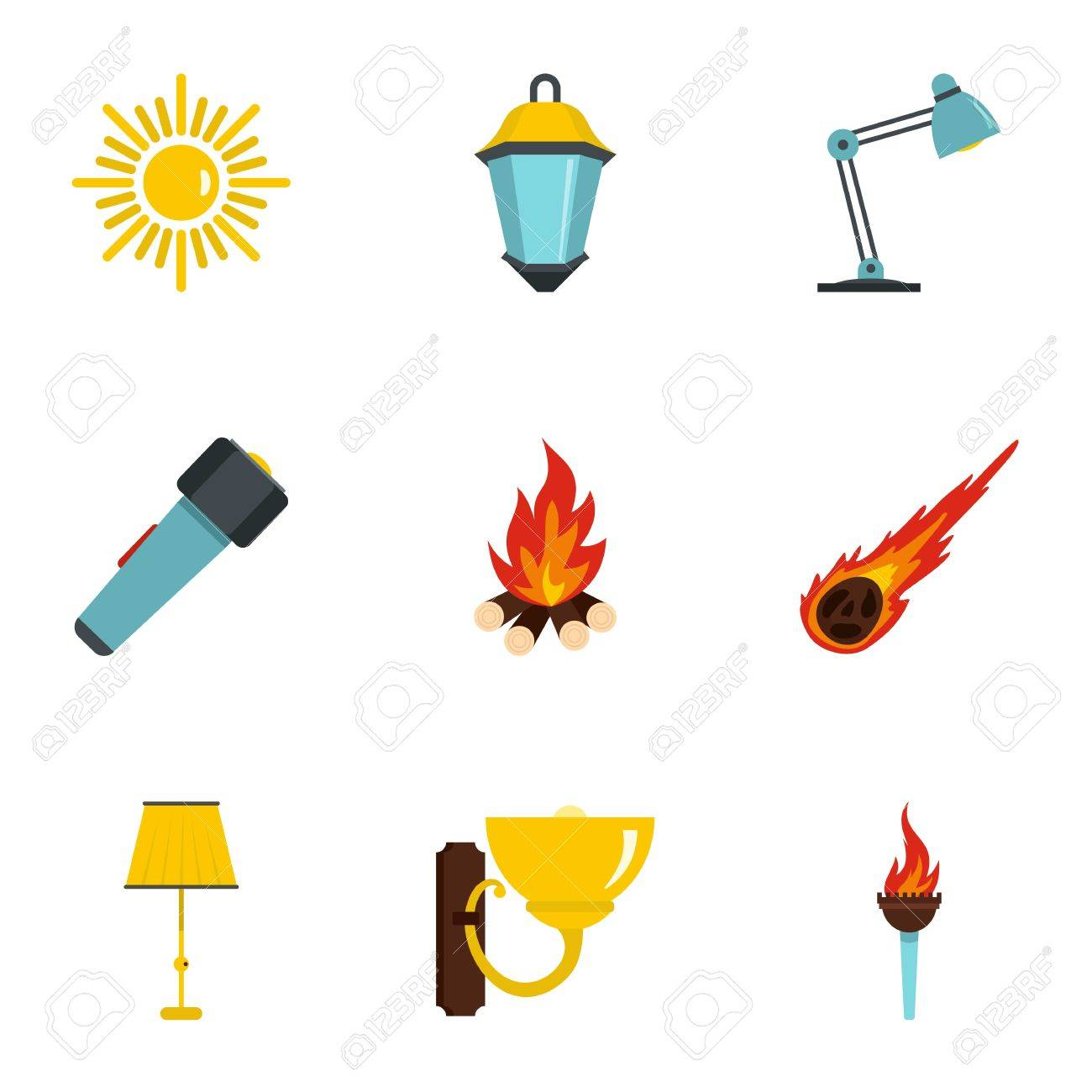 sources of light icon set flat style set of 9 sources of light rh 123rf com light vector ai light vector ai