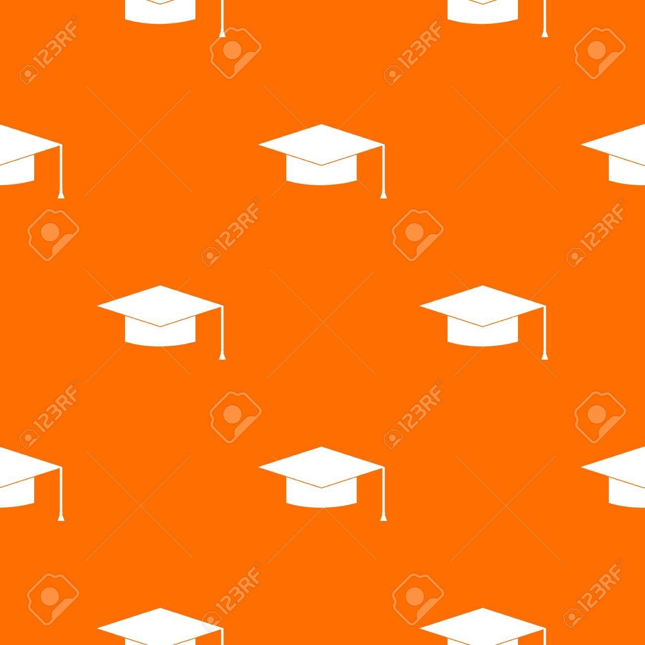 graduation cap pattern repeat seamless in orange color for any