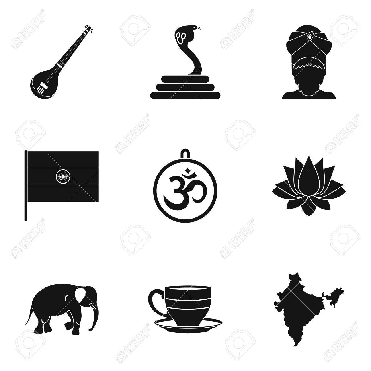Indische Symbole Symbolsatz Einfache Stil Set Von 9 Indischen