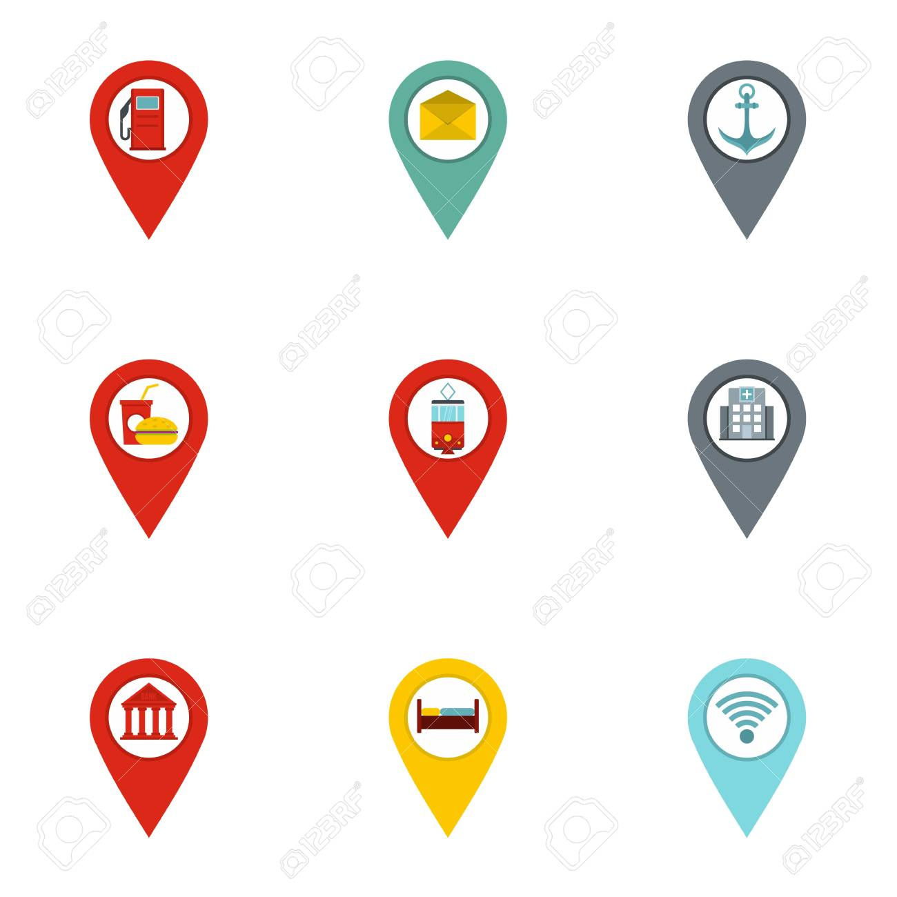 map pins icon set flat set of 9 map pins vector icons for web