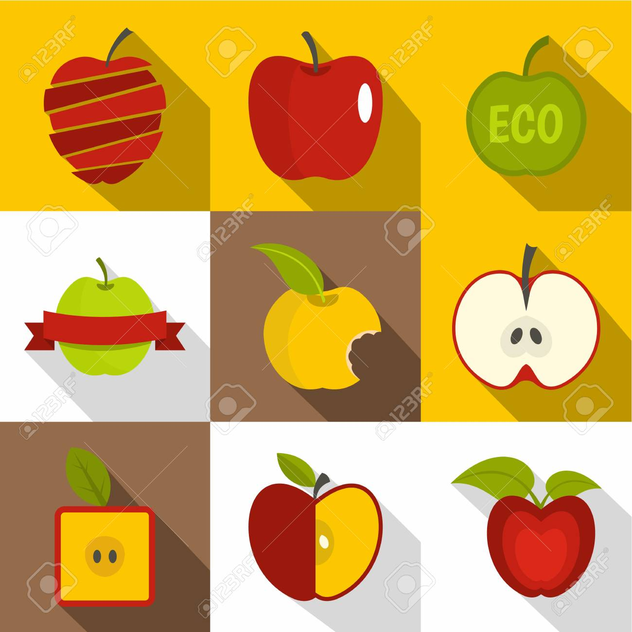 Apple label icons set  Flat set of 9 apple label vector icons