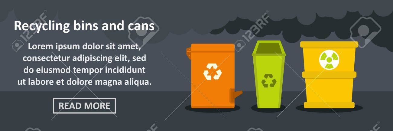 concept of recycling bins and cans banner for flyer template royalty