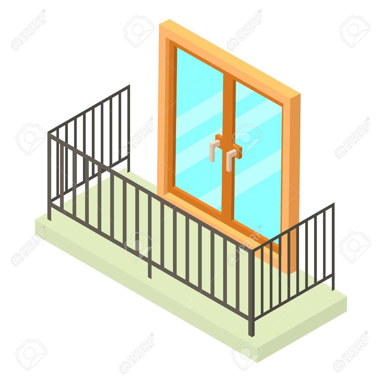 Balkon Symbol Isometrische Darstellung Der Balkon Vektor Symbol Fur