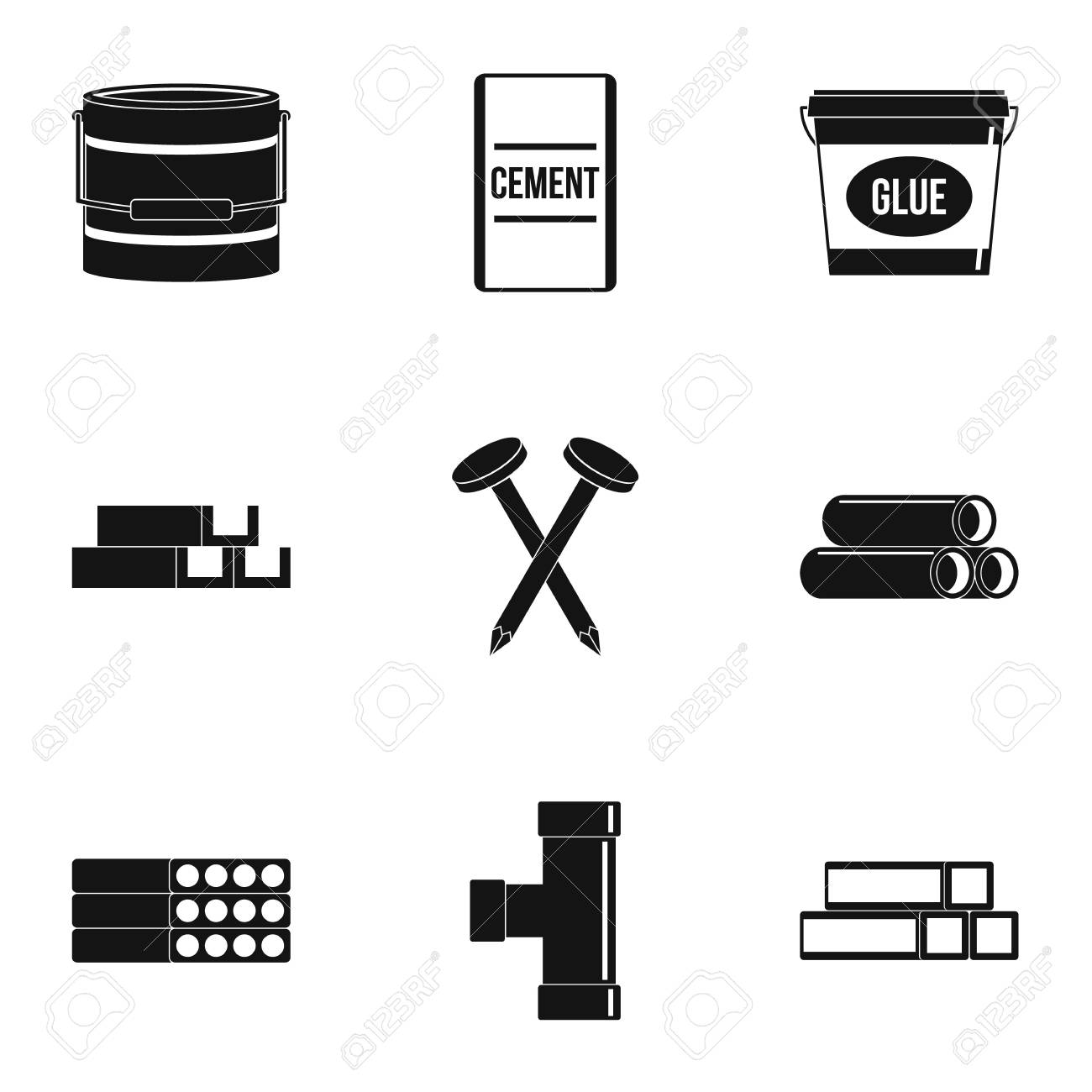 Building Material Icon Set Simple Set Of 9 Building Material Royalty Free Cliparts Vectors And Stock Illustration Image 84556042