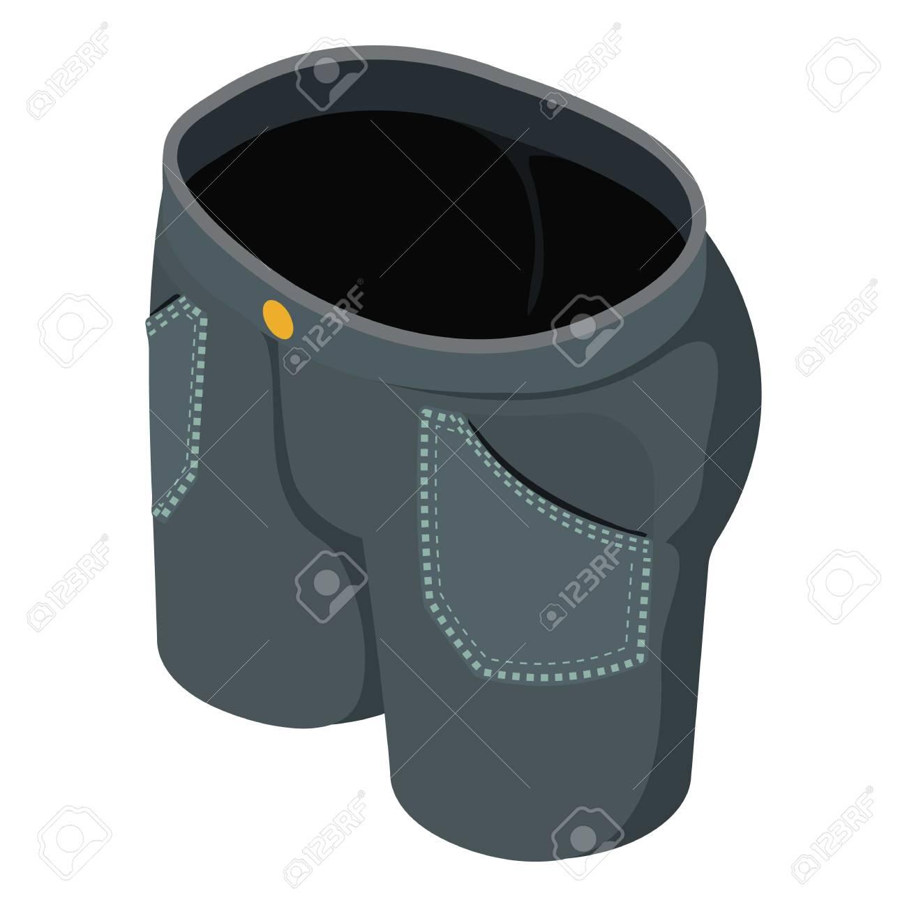 reunirse 228eb a076c Icono de pantalones vaqueros cortos negros, estilo isométrico 3d