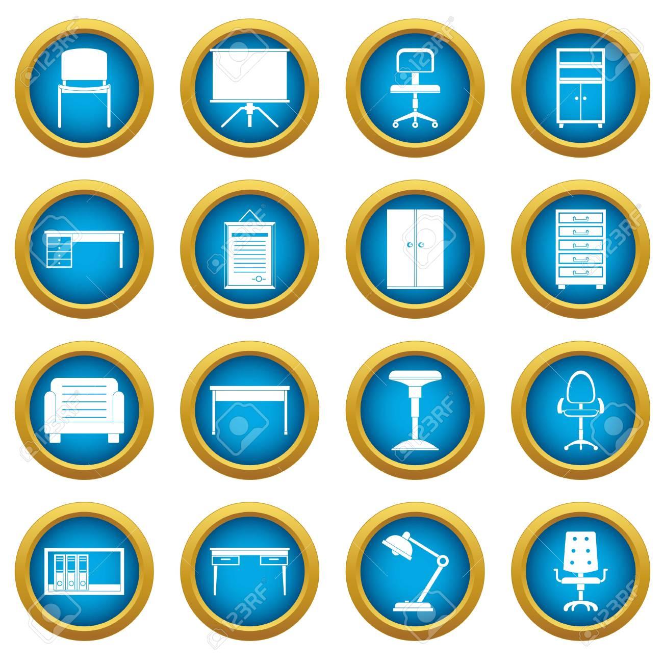 Conjunto De C Rculo Azul De Iconos De Muebles De Oficina Aislado  # Muebles Digitales