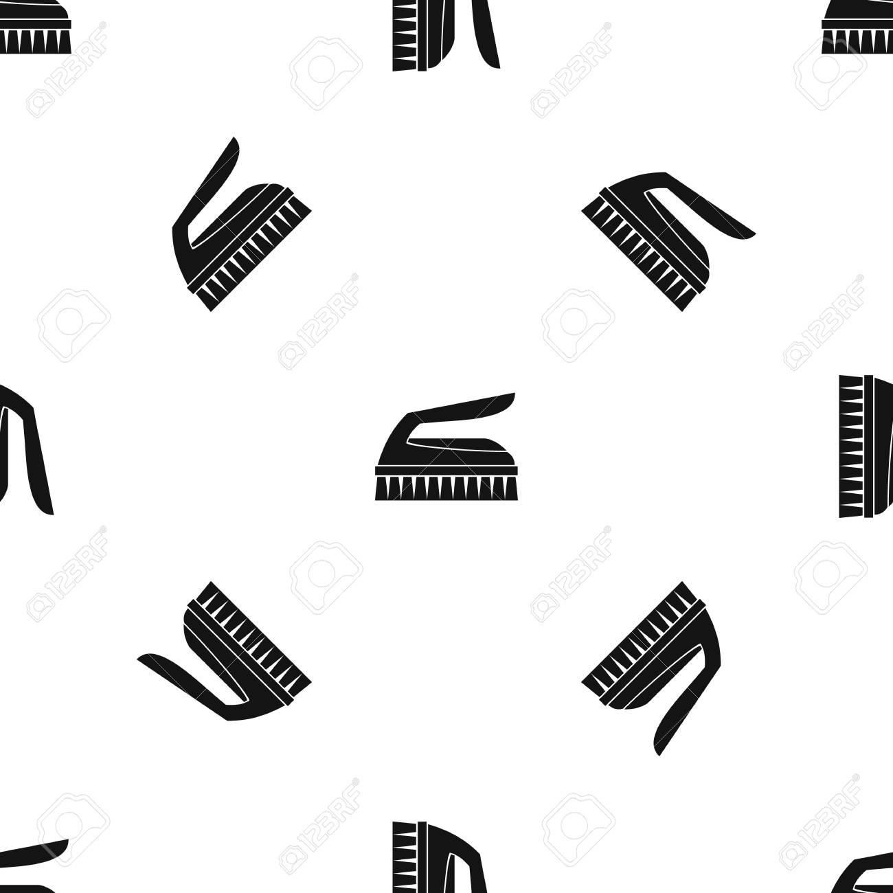 Cepillo Para Limpiar El Patrón Sin Costura Negro Ilustraciones ...