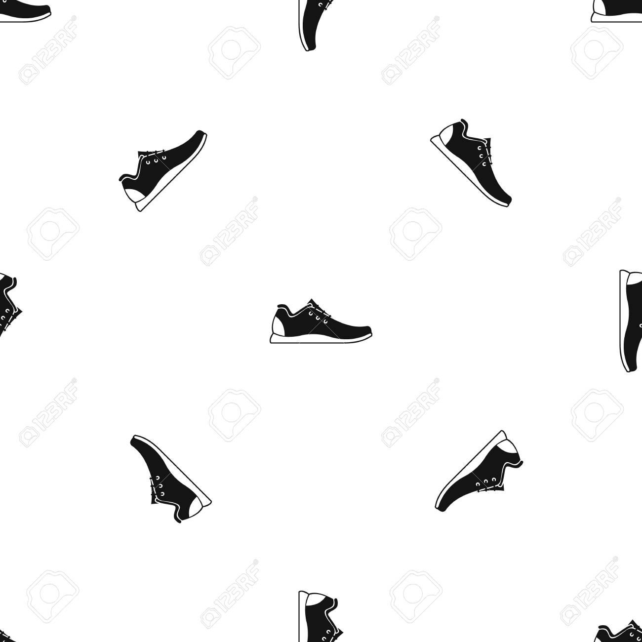 Repita El Patrón De Calzado Deportivo Sin Costura En Color Negro ...