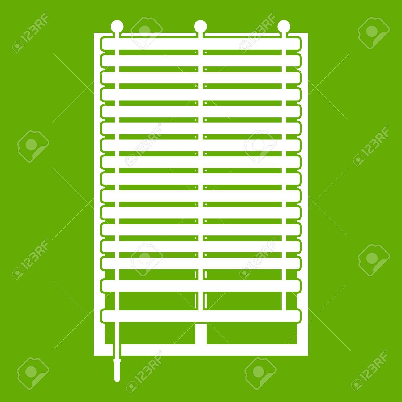 Fenêtre Avec Icône De Jalousie En Bois Blanc Isolé Sur Fond Vert