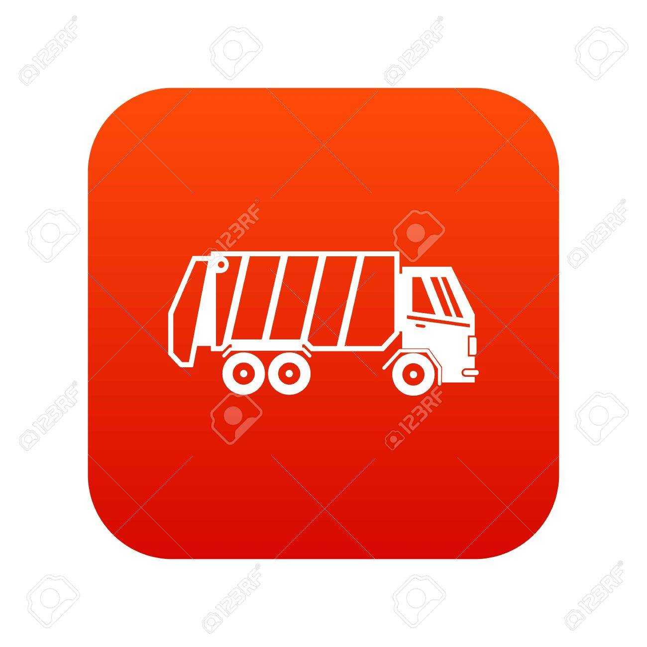 White Outline Illustration Of Garbage Truck Icon Isolated On