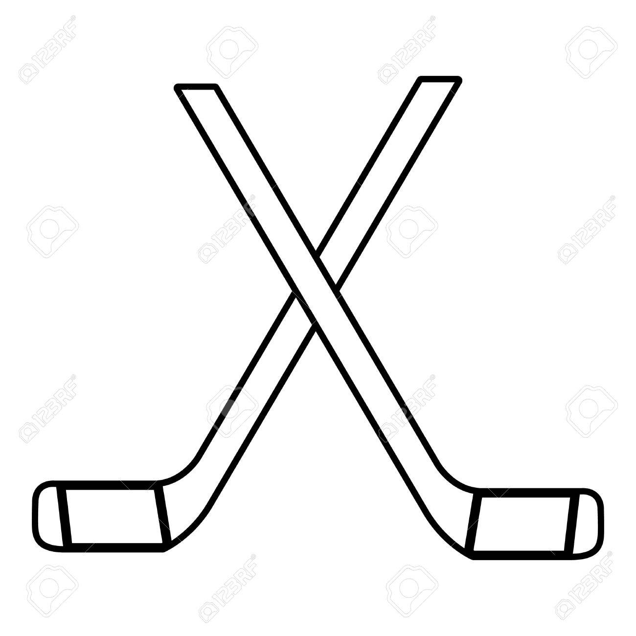 two crossed hockey sticks icon outline style royalty free cliparts rh 123rf com hockey sticks clipart free hockey sticks clipart