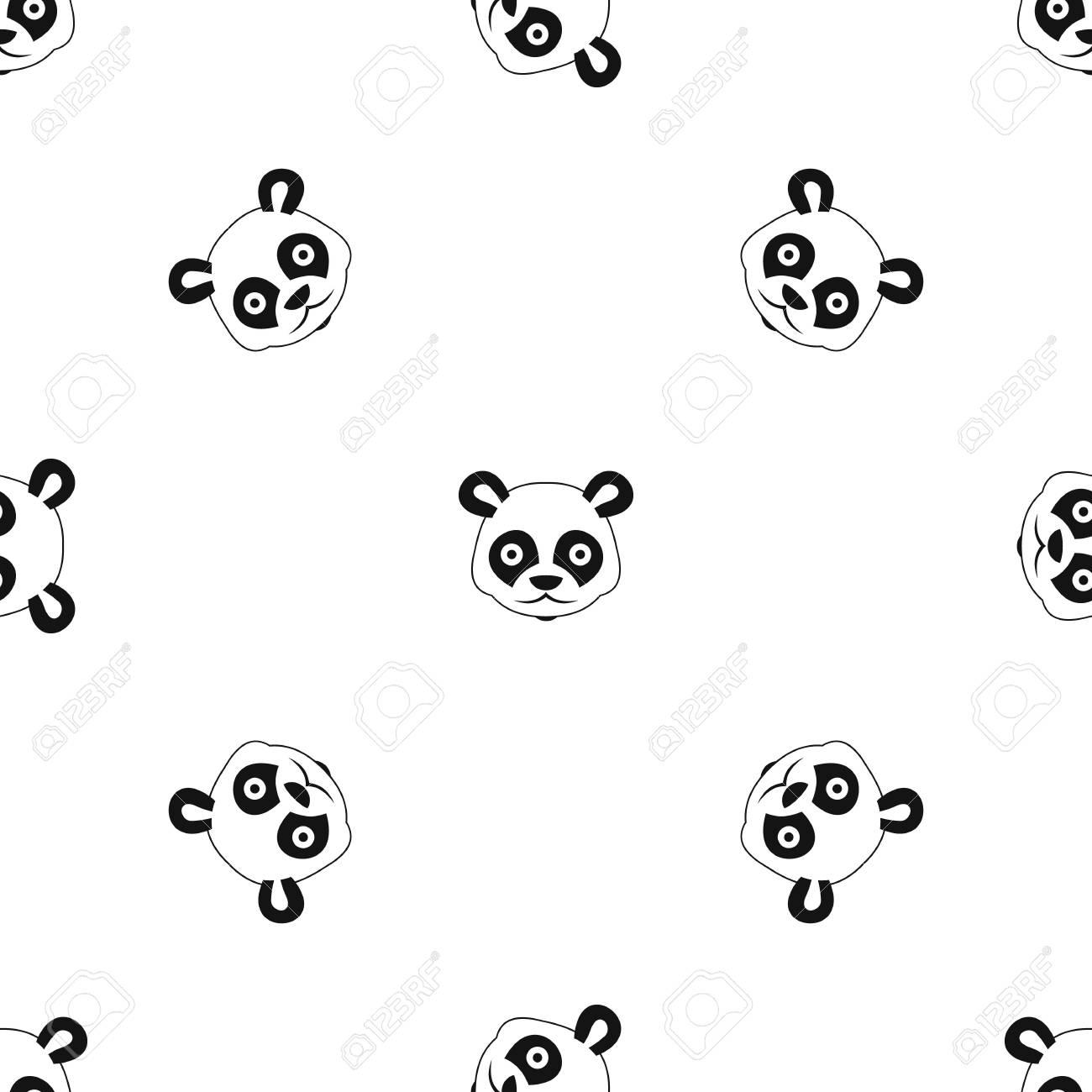 La Cabeza Del Patrón De Panda Se Repite Sin Costuras En Color Negro ...
