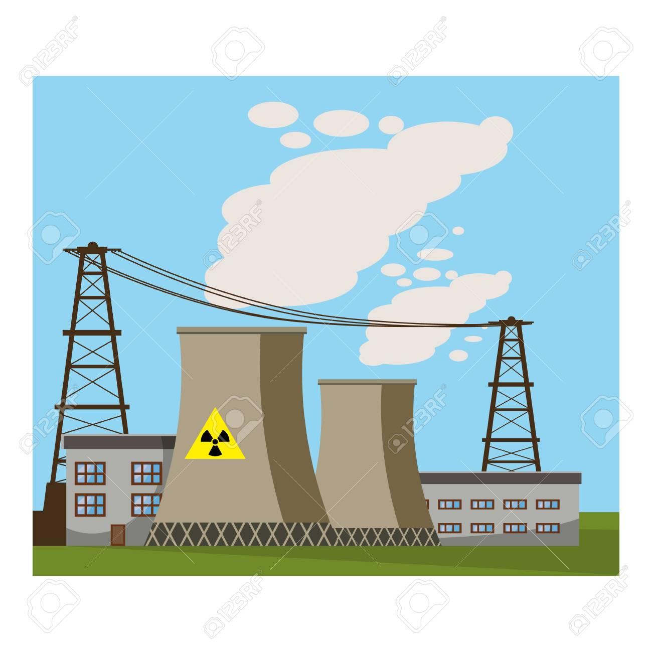 Icono De La Planta De Energía Nuclear Ilustración De Dibujos