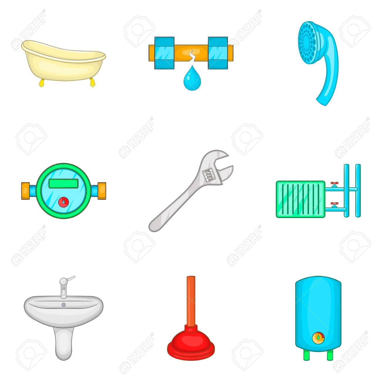 Conjunto De Iconos De Limpieza De Baño Estilo De Dibujos Animados