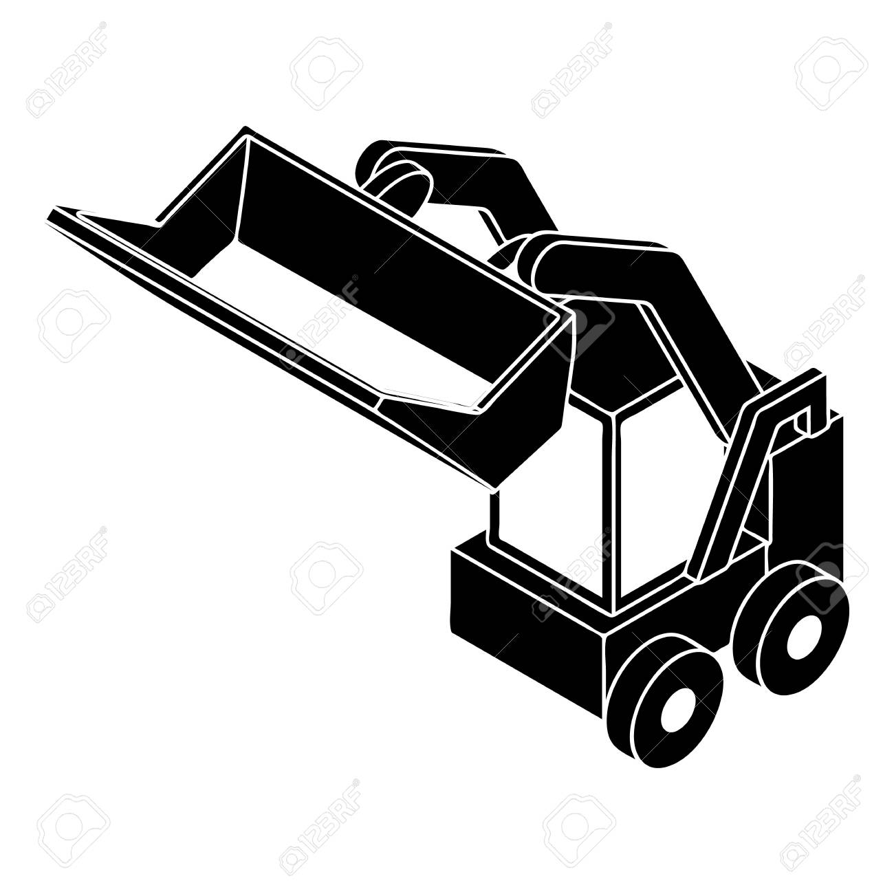 Bobcat Machine Icon Simple Style Royalty Free Cliparts Vectors