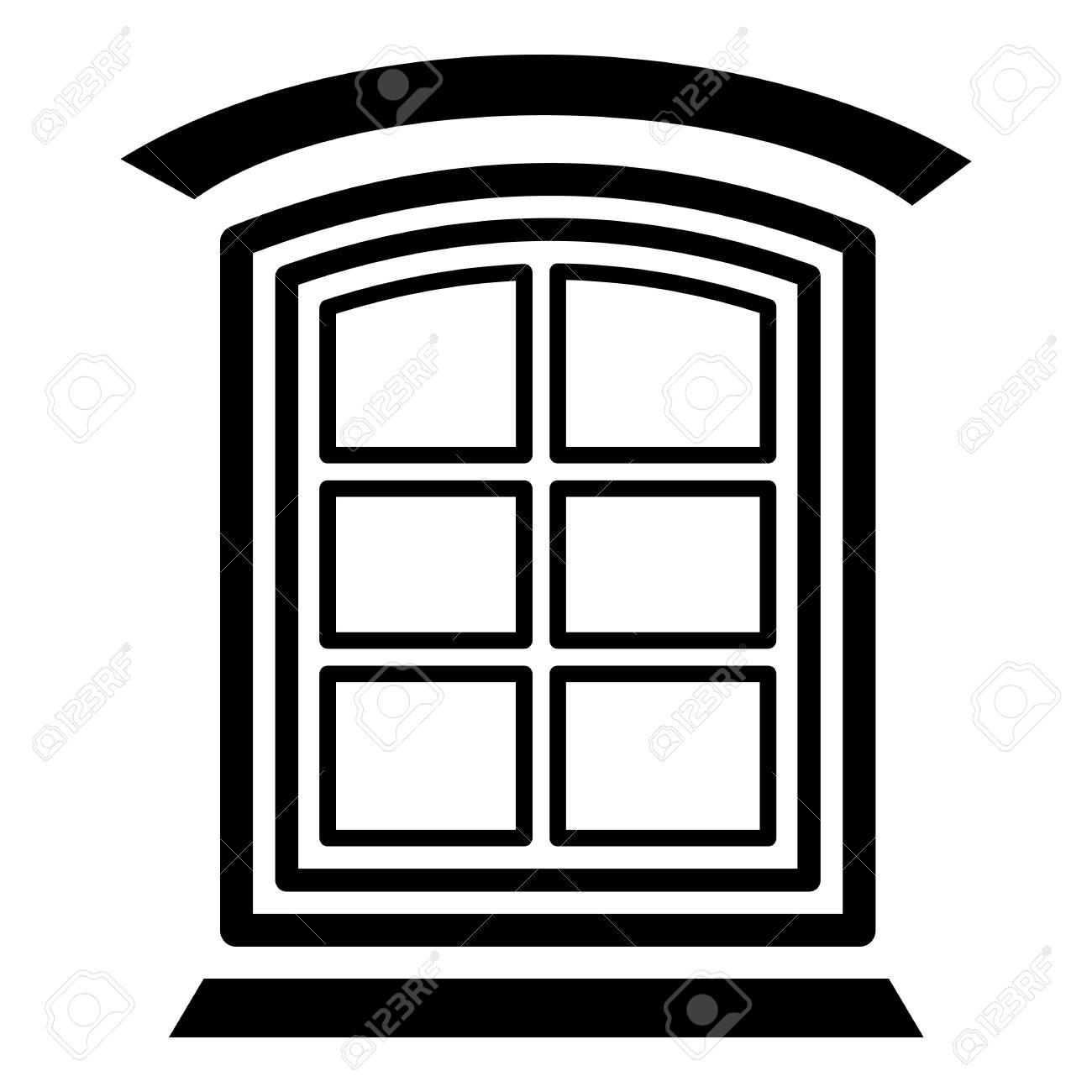 Retro Window Frame Icon. Simple Illustration Of Retro Window ...