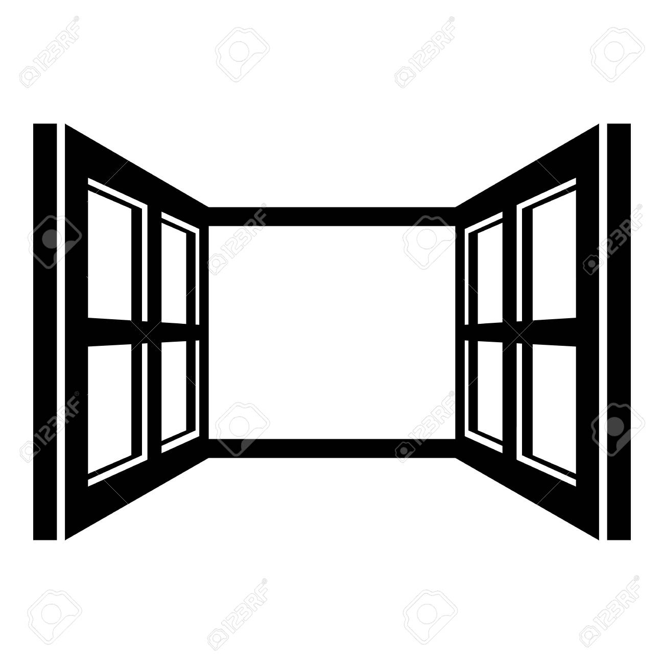 Open Window Frame Icon. Simple Illustration Of Open Window Frame ...