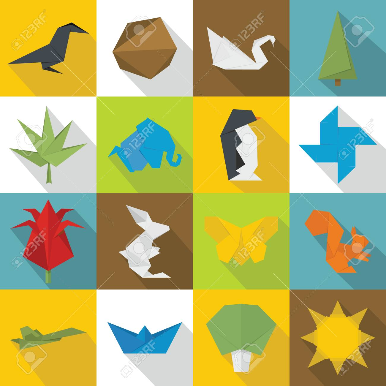 Origami Icons Set Flat Illustration Of 16 Vector For Web Stock