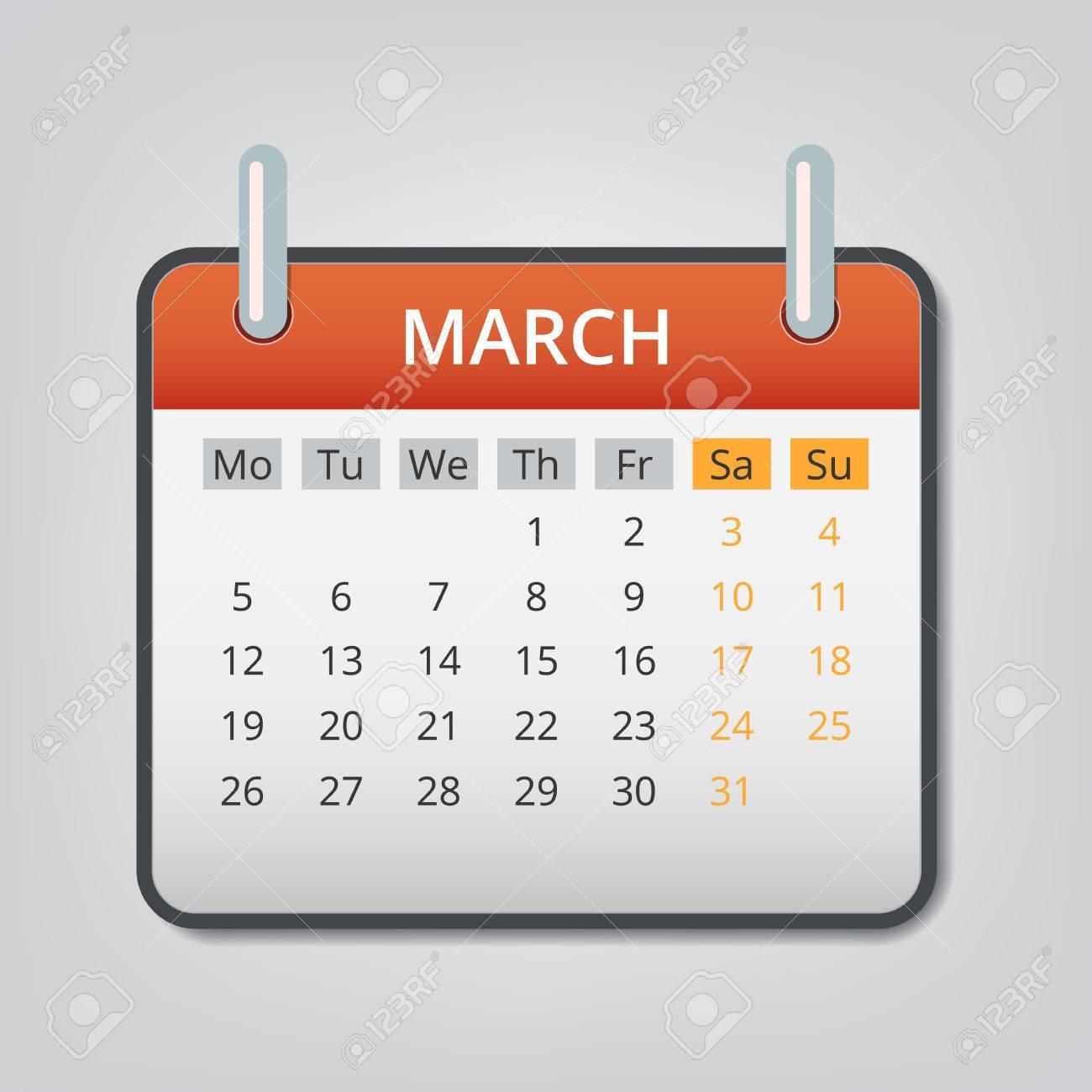 Gadget Calendario.March 2018 Calendar Concept Background Cartoon Illustration