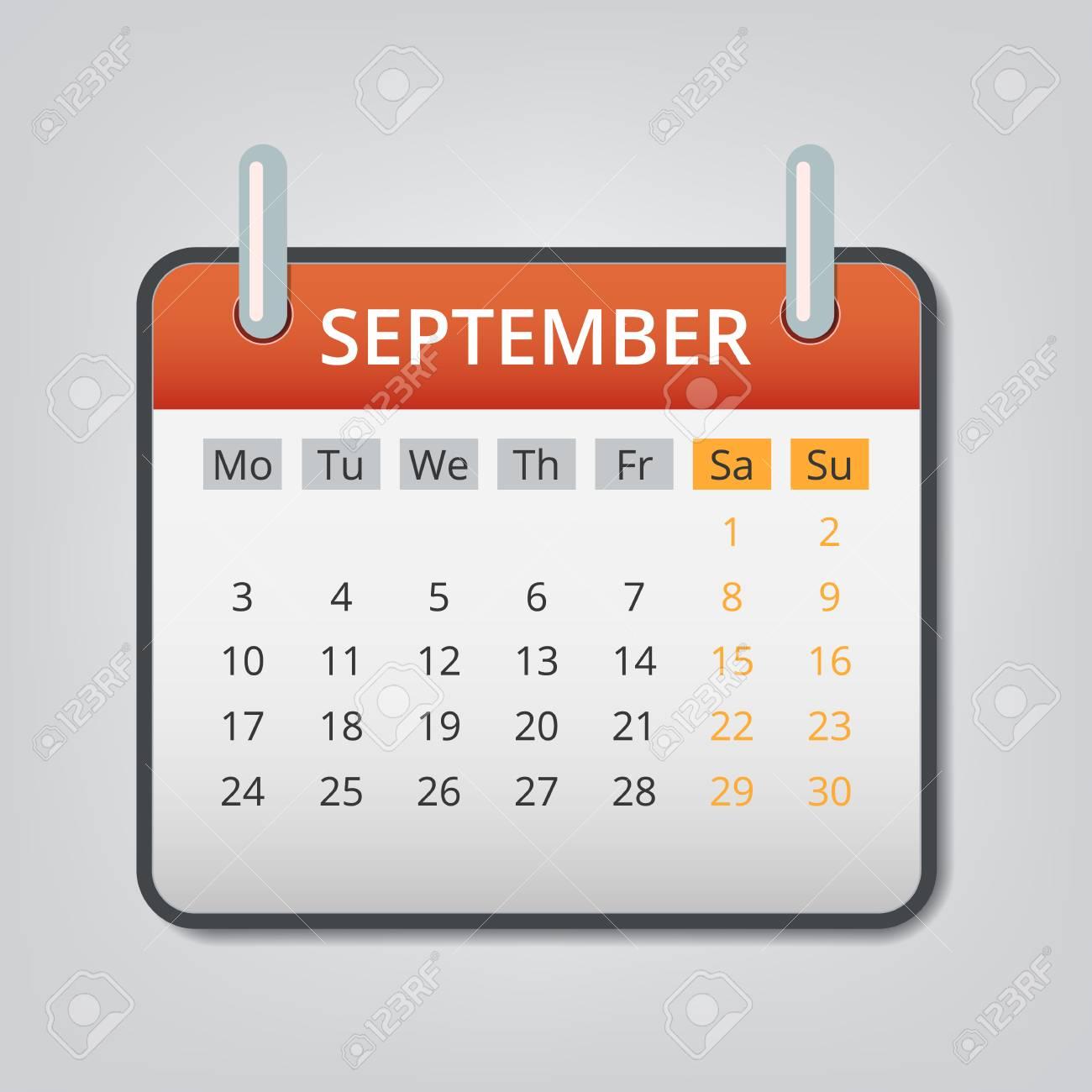 Calendario Dibujo Septiembre.Fondo Del Concepto Del Calendario De Septiembre De 2018 Ilustracion De Dibujos Animados De Septiembre De 2018 Calendario Vector Concepto De Fondo Para