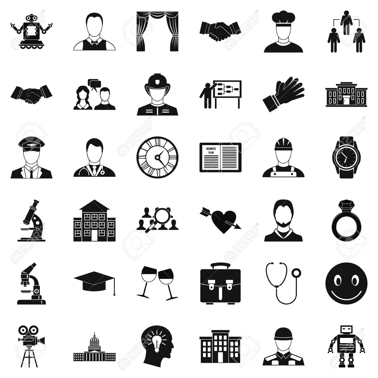 Agreement Icons Set Simple Style Royalty Free Cliparts Vectors