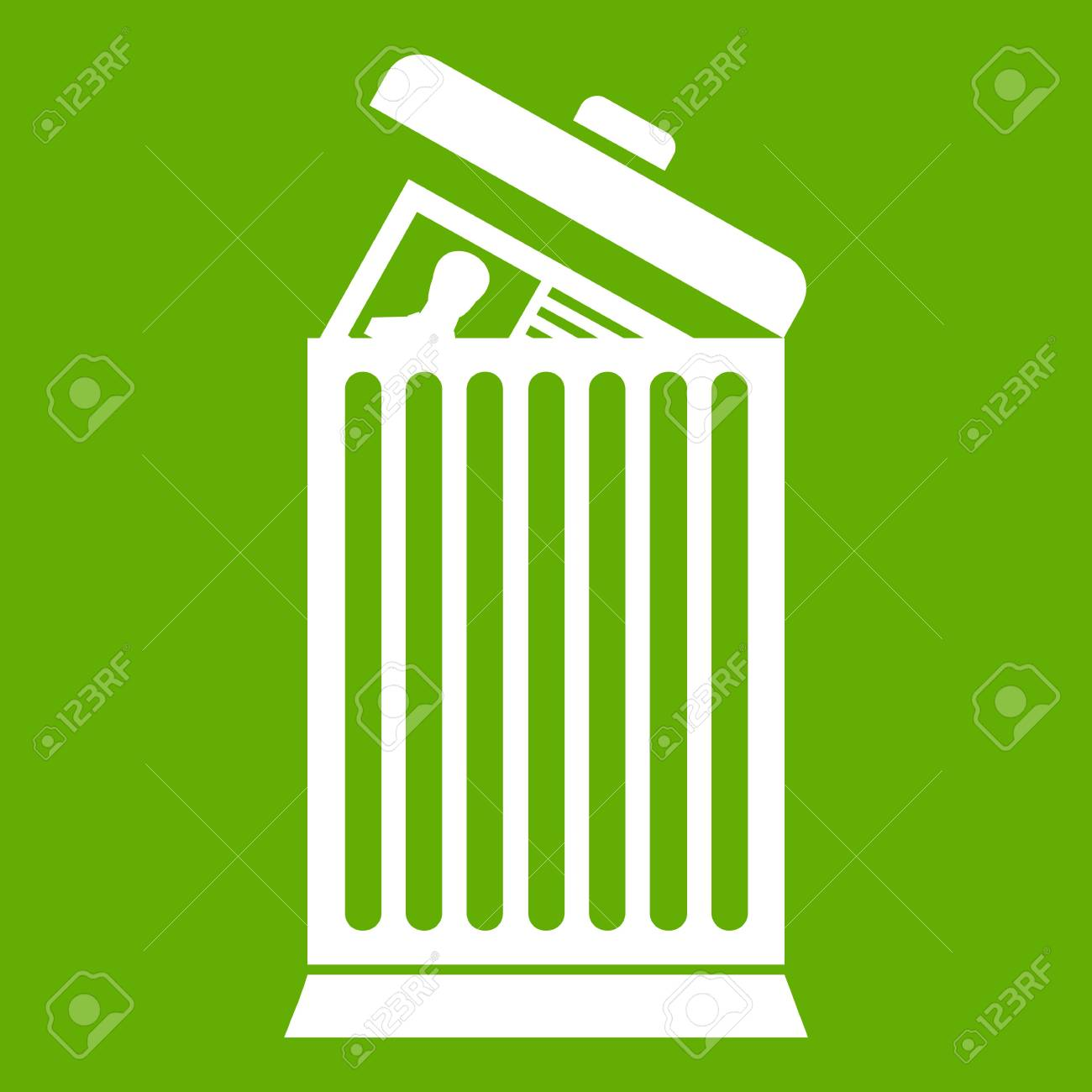 resume thrown away in the trash can icon white isolated on green