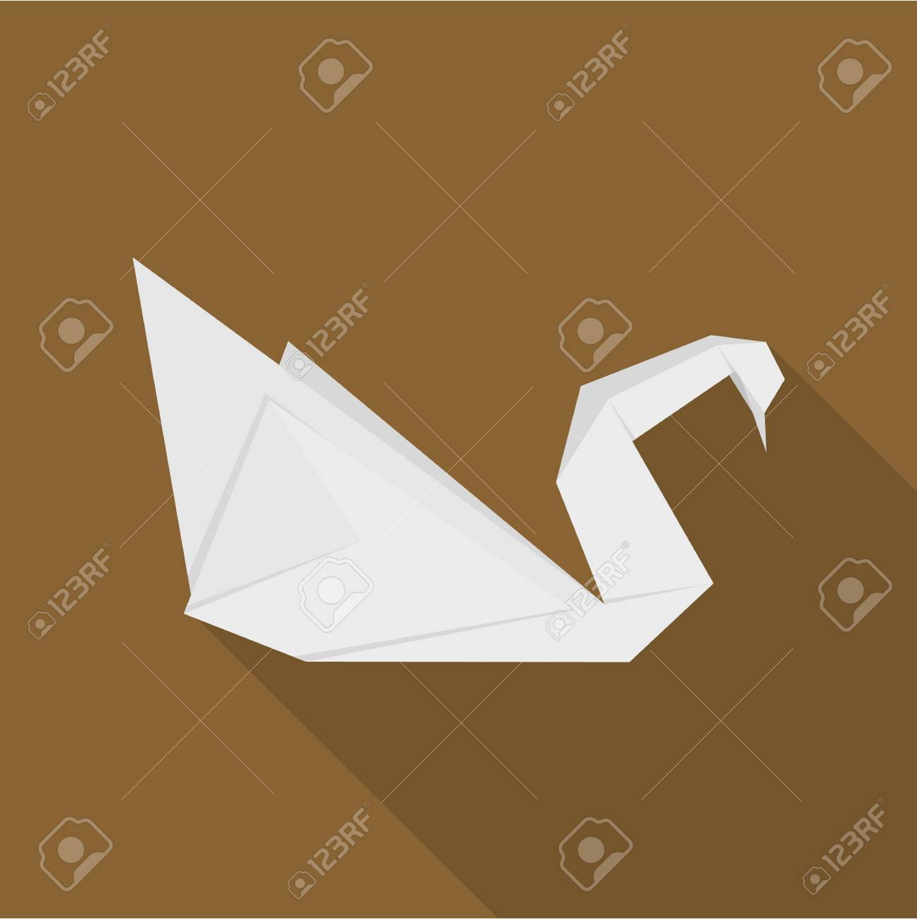 Origami Swan Icon Flat Illustration Of Vector