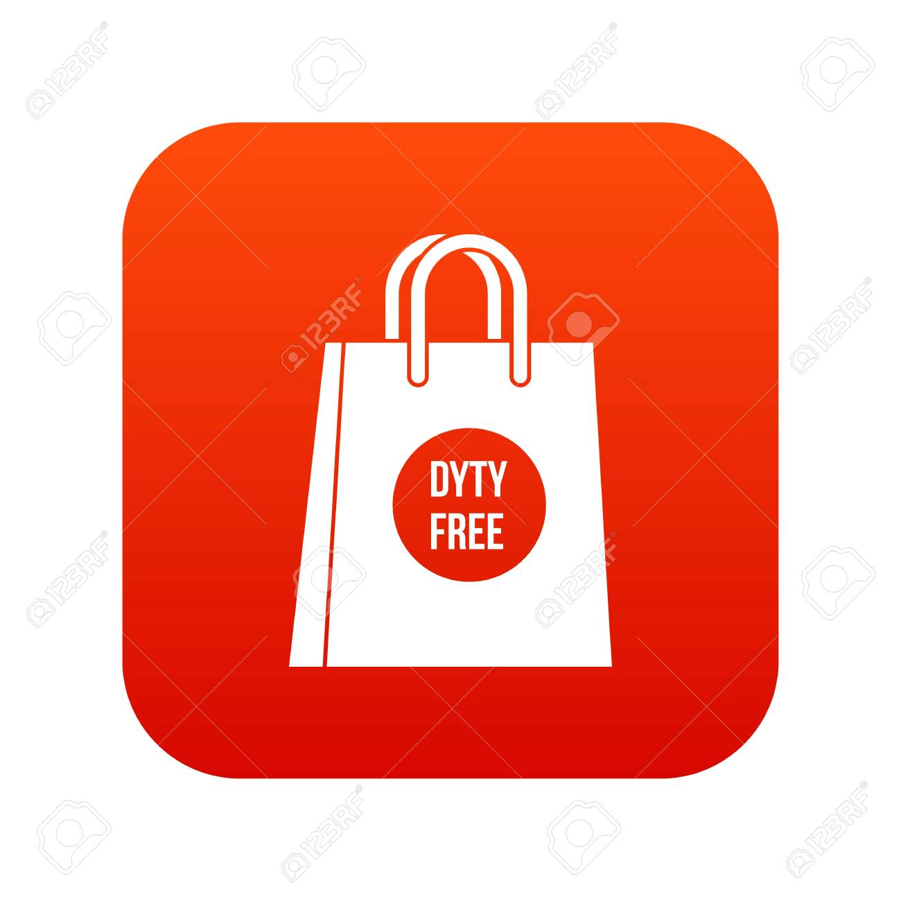 Duty Free Shopping Bag Icon Digital Red For Any Design Isolated